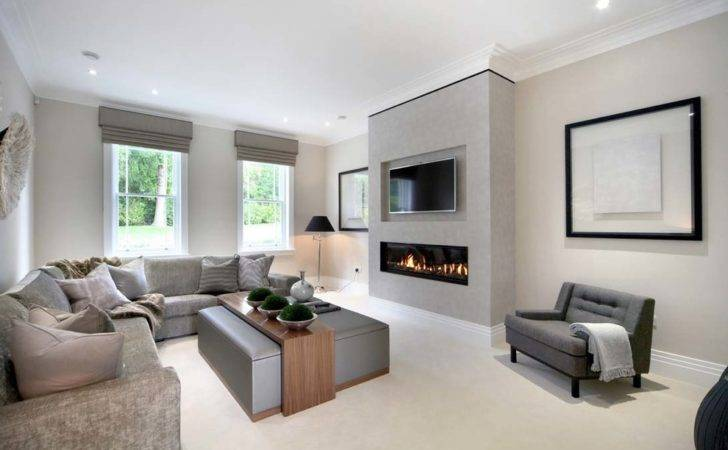 Modern Fireplace Above Living Room Beach Style