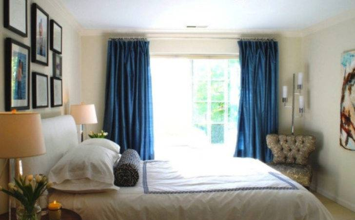 Modern Home Bedrooms Blue Curtains