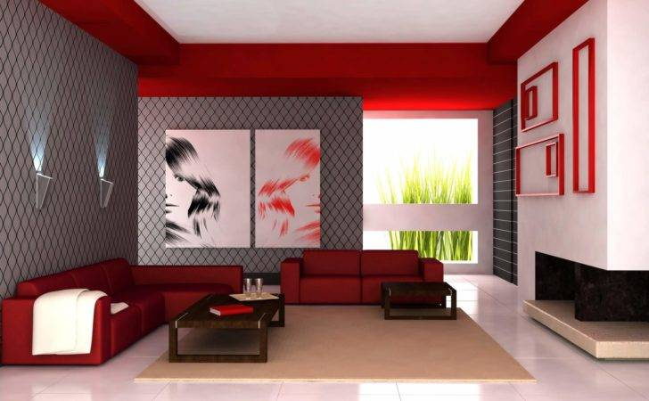 Modern Home Living Room Paint Colors Design Red Scheme
