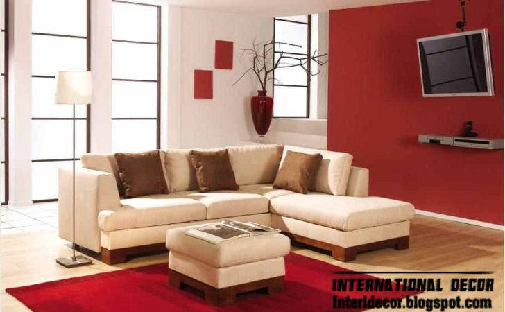 Modern Living Rooms Red White Design Interior Home