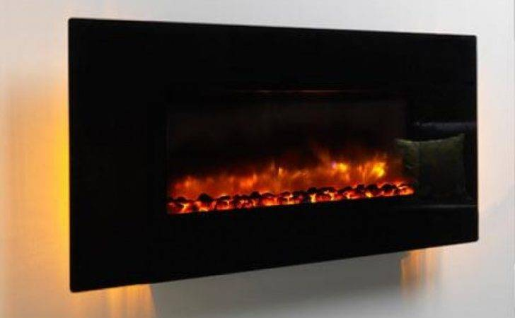 Modern Orlando Led Wall Hung Electric Fire Black