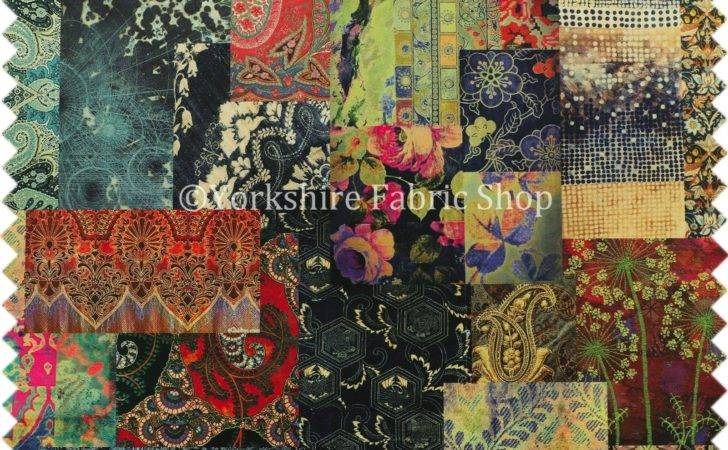 Modern Printed Velvet Wonderland Patchwork Multi Coloured