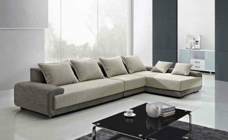 Modern Shaped Couch Modular Sofas Small Spaces Beige