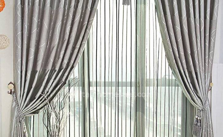 Modern Silver Grey Curtains Lines Panels