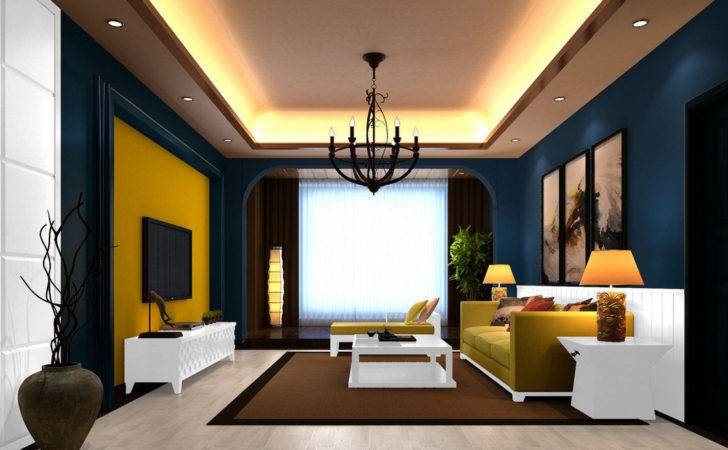 Modern Style Living Room Deep Blue Walls House