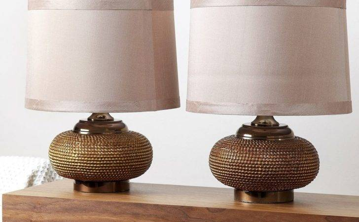 Modern Table Lamp Set Fabric Shades Gold Antique