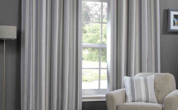 Monaco Lined Ready Made Eylet Ring Top Striped Curtains
