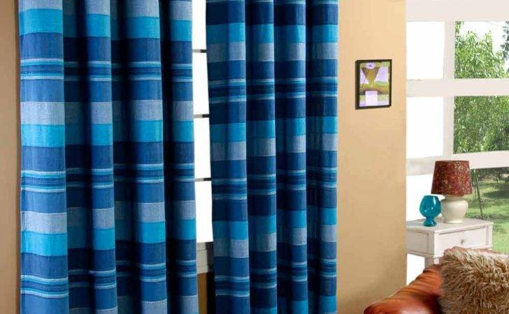 Morocco Striped Ready Made Eyelet Curtains Beige Blue
