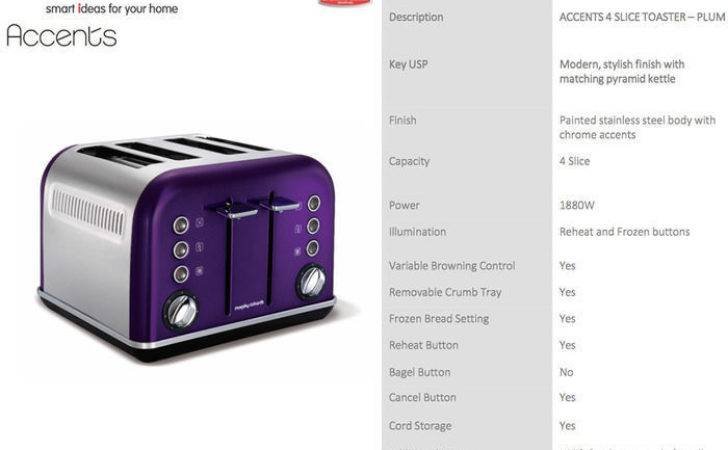 Morphy Richards Plum Chrome Accents Slice Toaster