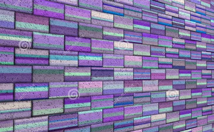 Mosaic Tile Brick Wall Purple Blue Stripe