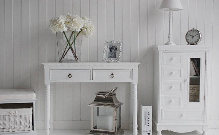 Narrow Hallway Furniture Modern White Console Table