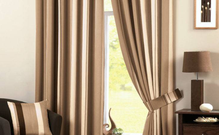 Natural Beige Brown Cream Vertical Striped Lined Pair
