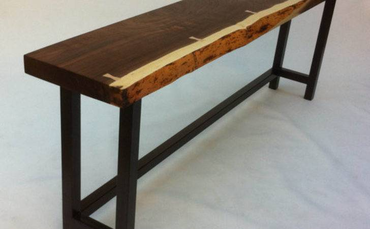 Natural Live Edge Walnut Slab Hall Table Contemporary