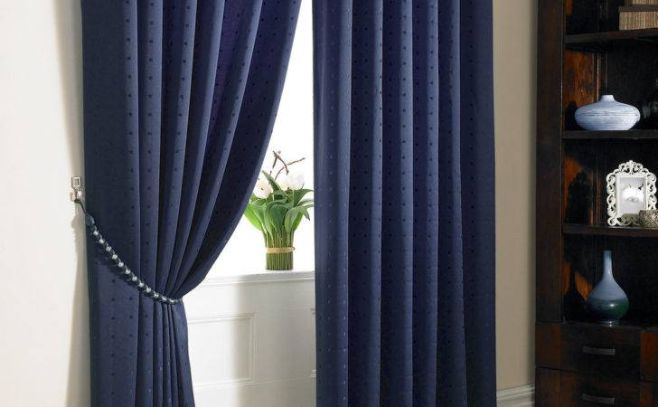 Navy Blue Jacquard Curtains Lined Faux Silk Ready Made
