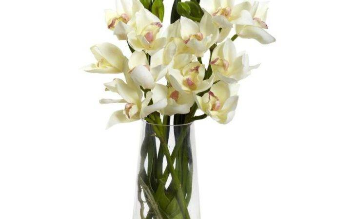 Nearly Natural Cymbidium Orchid Vase Artificial Plants