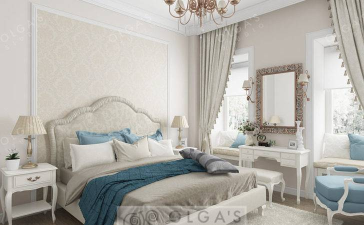 Neoclassical Bedroom Design Blue Accents