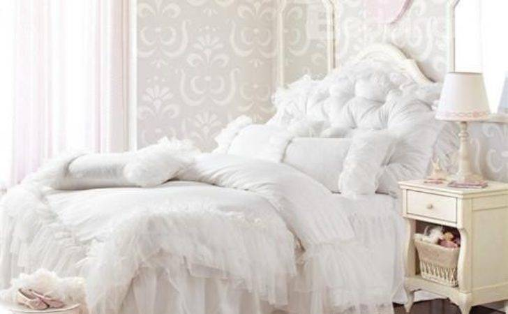 New Arrival Princess Style Pure White Lace Borders Bed