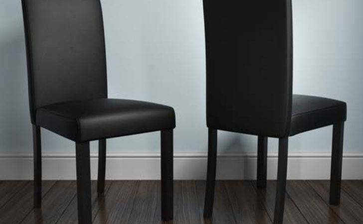 New Haven Pair Chairs Black Faux Leather