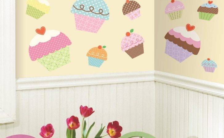 New Large Cupcakes Wall Stickers Girls Bedroom Baby
