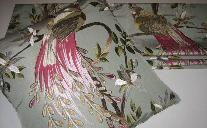 New Nina Campbell Paradiso Embroidered Silk Fabric Roman