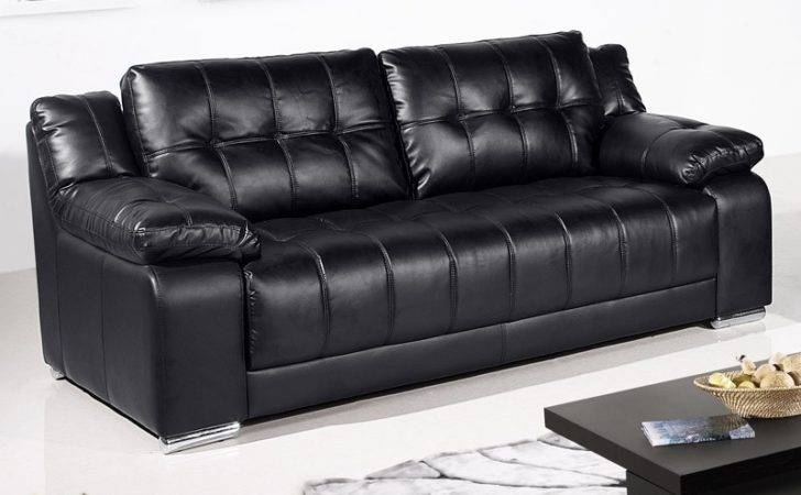 Newham Black Leather Sofa Collection