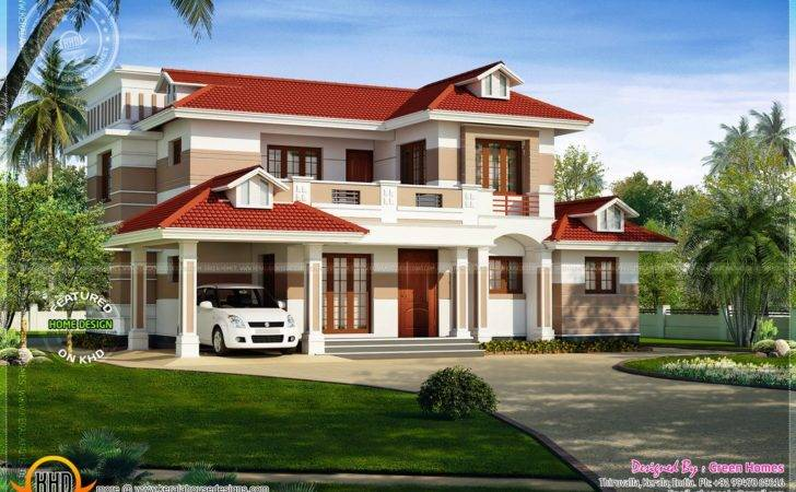 Nice Red Roof House Exterior Kerala Home Design