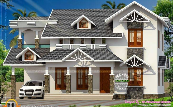 Nice Sloped Roof Kerala Home Design