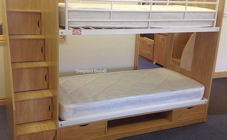 Oak Effect Deluxe Storage Staircase Bunk Bed