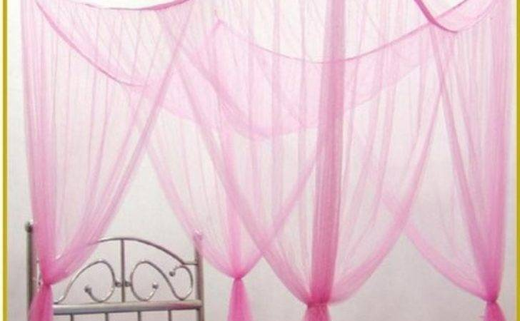 Octorose Light Pink Poster Bed Canopy Functional