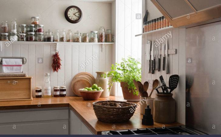 Open Shelving Solid Oak Work Surfaces Kitchen