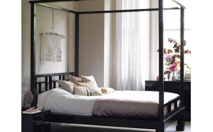 Oriental Black Lacquer Four Poster Bed