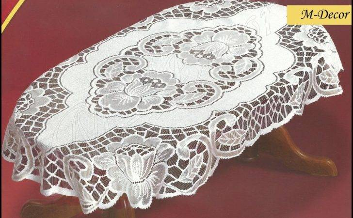 Oval Lace Cream Tablecloth New