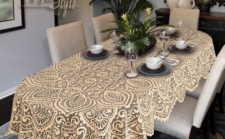 Oval Round Lace Tablecloth White Beige Large Premium