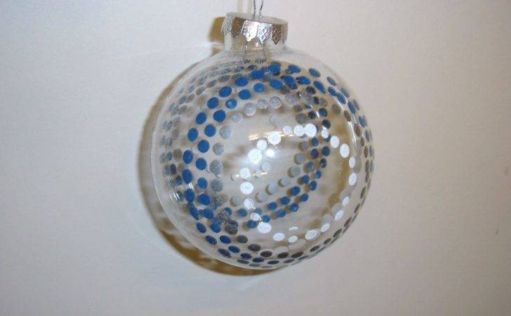 Pack Large Glass Baubles Blue White Dots