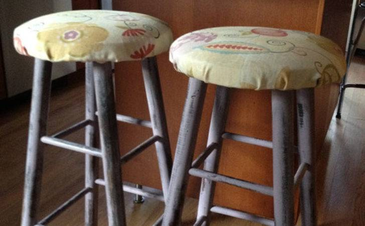 Painted Distressed Kitchen Counter Stools Set