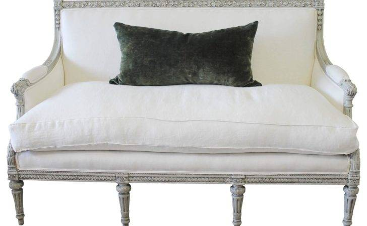 Painted Louis Xvi Style French Country Sofa Settee