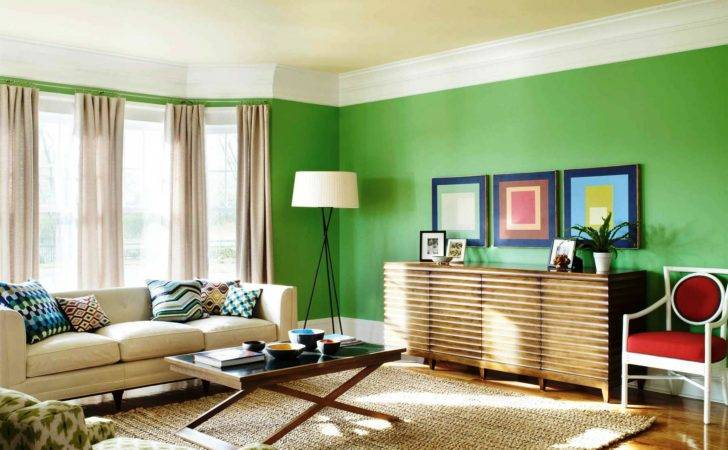 Painting Living Room House Paint Color Wall Home Green