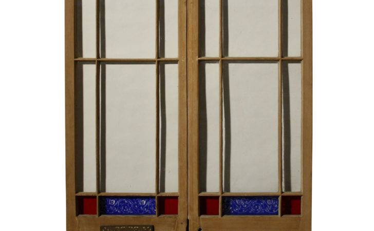 Pair Antique Stained Glass Exterior Double Doors