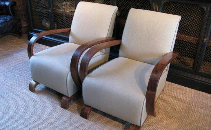 Pair French Art Deco Armchairs Sofas