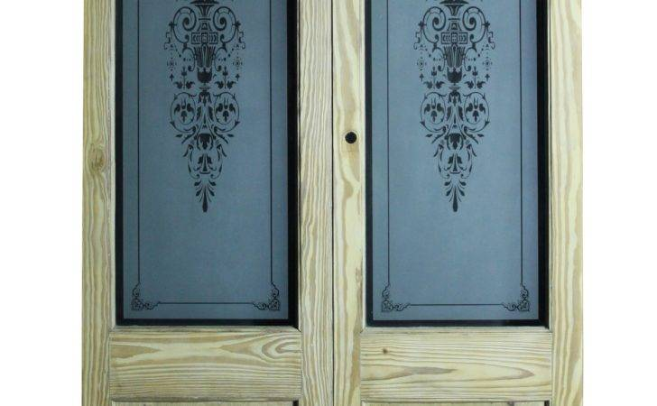Pair Reclaimed Pine Double Doors Etched Glass