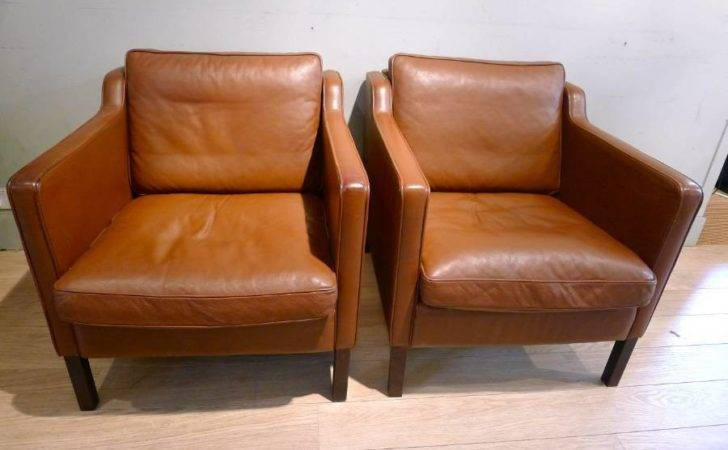 Pair Vintage Danish Leather Chairs Stouby