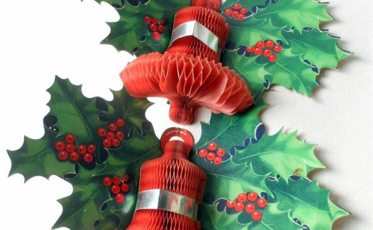 Pair Vintage Paper Card Honeycomb Bell Holly Wall