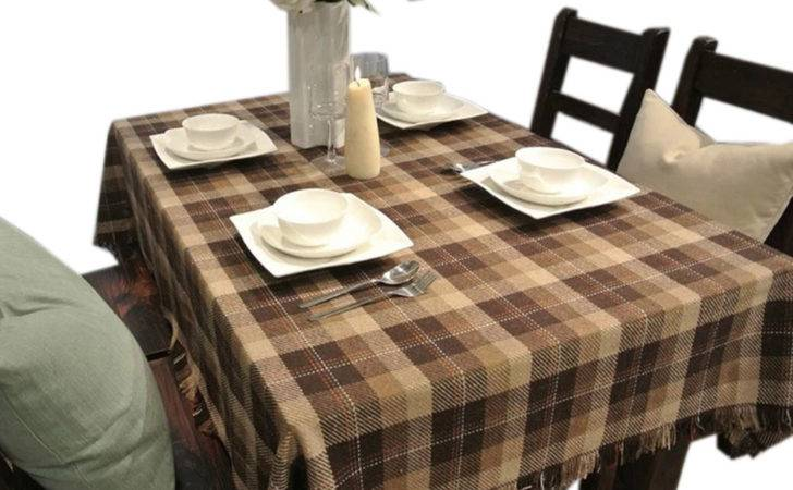 Panda Superstore Brown Plaid Country Style Tablecloths