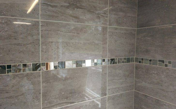 Parallel Travertine Effect Gloss Grey Ceramic Wall