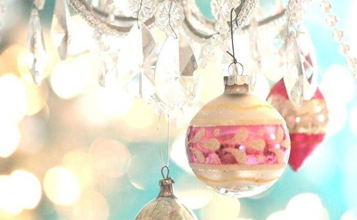 Pastel Christmas Ornaments Pink Ivory Silver