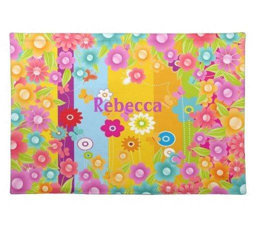 Personalised Butterflies Flowers Placemats Zazzle