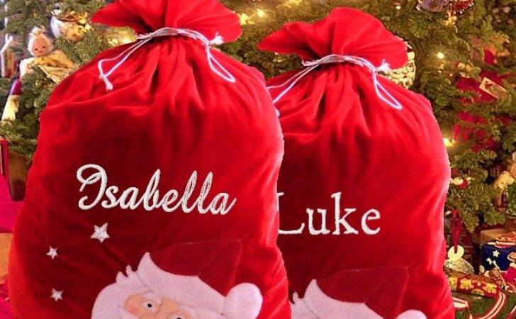 Personalised Christmas Sack Red Velvet Luxury Santa
