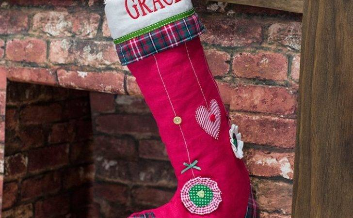 Personalised Christmas Stocking Red Bauble Design