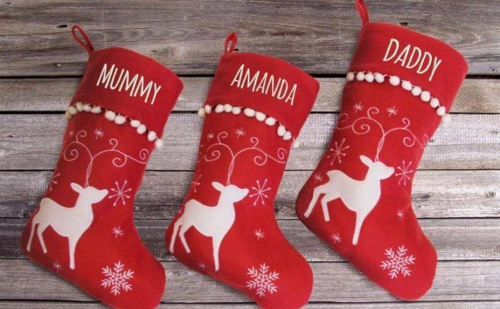 Personalised Christmas Stocking Reindeer Design