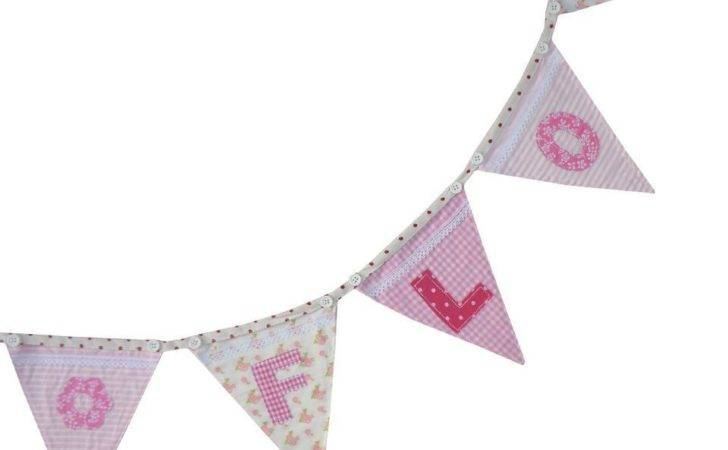Personalised Fabric Bunting Flags Alphabet Letters Numbers